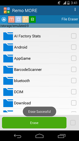 Remove Files from Android SD Card - Erase Successful